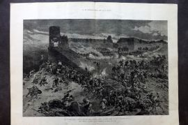 ILN 1880 LG Antique Print. The Afghan War: Attack on the Bala Hissar, Cabul